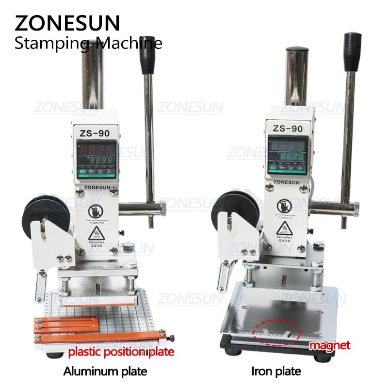 ZONESUN ZS-90 Hot Foil Stamping Machine Manual Bronzing Embosser PVC Card Leather Paper Wood Embossing Branding Iron Heat Press