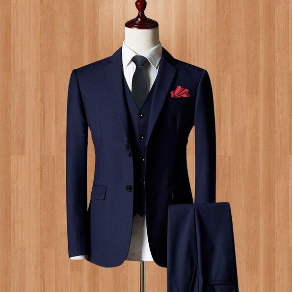2019 Three Piece Navy Blue Evening Party Men Suits Notch Lapel Slim Fit Custom Made Wedding Tuxedos (Jacket + Pants + Vest+Tie)