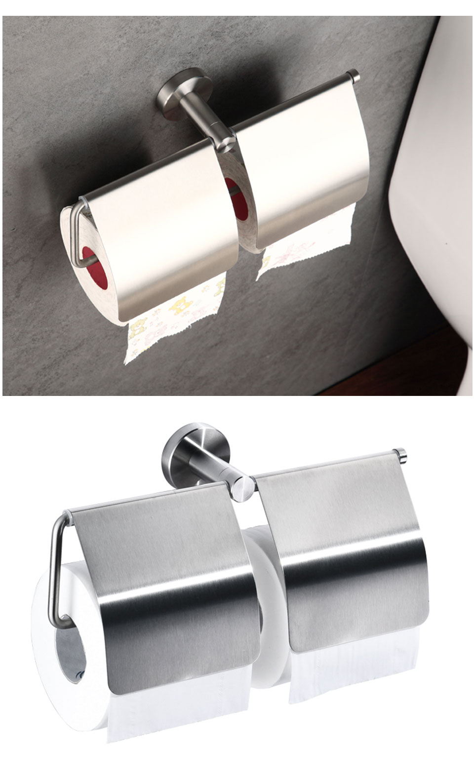 Toilet Paper Holder 304 Stainless Steel, Double Toilet Roll Holder for Bathroom Kitchen Stick Wall Mounted Brushed