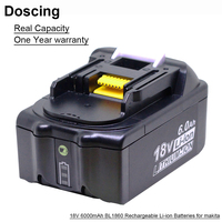 Doscing For Makita 18V 6000mAh Power Tools Rechargeable Batteries with LED Replacement Makita LXT BL1860 BL1850 BL1830 BL1860B