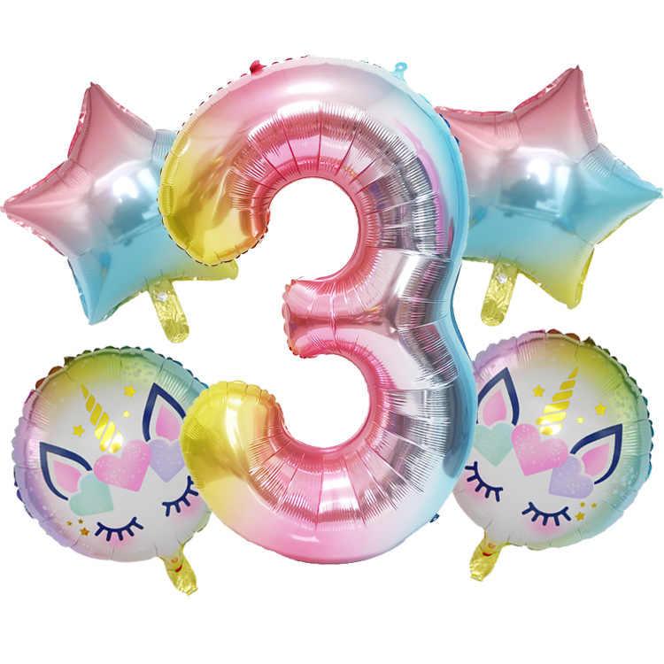 5 pièces arc-en-ciel couleur licorne ensemble nombre feuille ballons 1 2 3 4 5 ans enfants fête d'anniversaire bébé douche décorations dessin animé chapeau