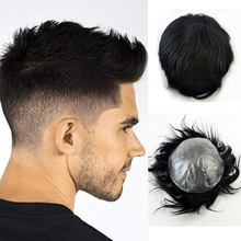 Perruque de cheveux humains pour hommes, toupet complet, tissage d'unité de cheveux, noir, ligne de cheveux humains, attaché à la main, peau Super fine