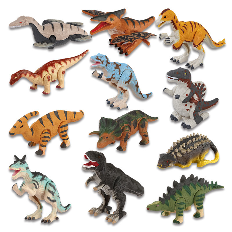 Hot Selling Jurassic World Simulated Dinosaur Models Toy 12-Winding Spring Dinosaur Dynamic Toy