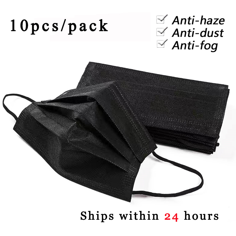 10Pcs Black 3 Layers Protection Mask Dust Filter Respirator Safe And Breathable Face Mouth Mask Healthy Anti Pollution Mask 2020