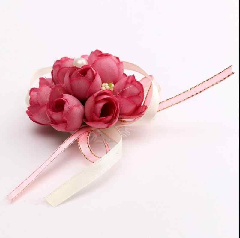 Flores artificiales pequeños brotes de Rosa ramillete de muñeca Decoración Para celebración de boda graduación pulseras de flores artificiales suministros de fiesta de navidad