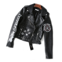 Spring Punk PU leather jacket female fashion brand Slim stre