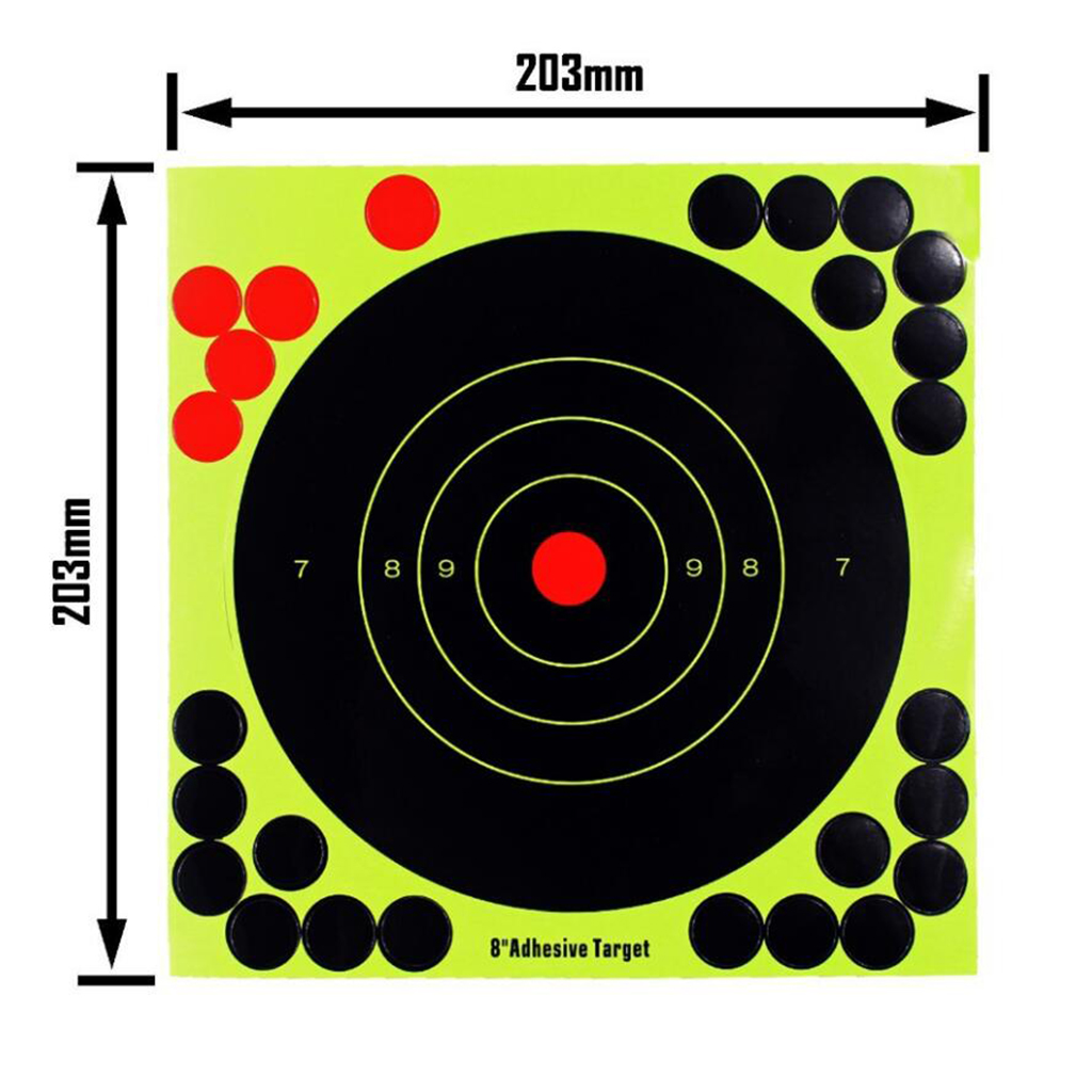 Outdoor Indoor Shooting Targets 8 Inch Adhesive Target Splatter Glow Shot Rifle Florescent Paper Target 10 Pieces