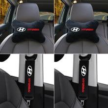 4pcs Car neck pillows soft headrest Car Safety Seat Belt covers for Hyundai Tucson Solaris I30 Creta Ix35 IX20 Auto Accessories