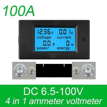 DC 6,5-100 в 0-100A ЖК-дисплей цифровой измеритель напряжения тока измеритель мощности Амперметр Вольтметр с 100A током шунта