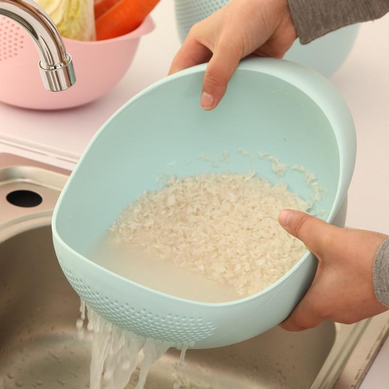 Kitchen Thickened Rice Washing Utensils  Appliances Screening Dense Holes Multi-purpose Plastic Rice Washing Basin Containers