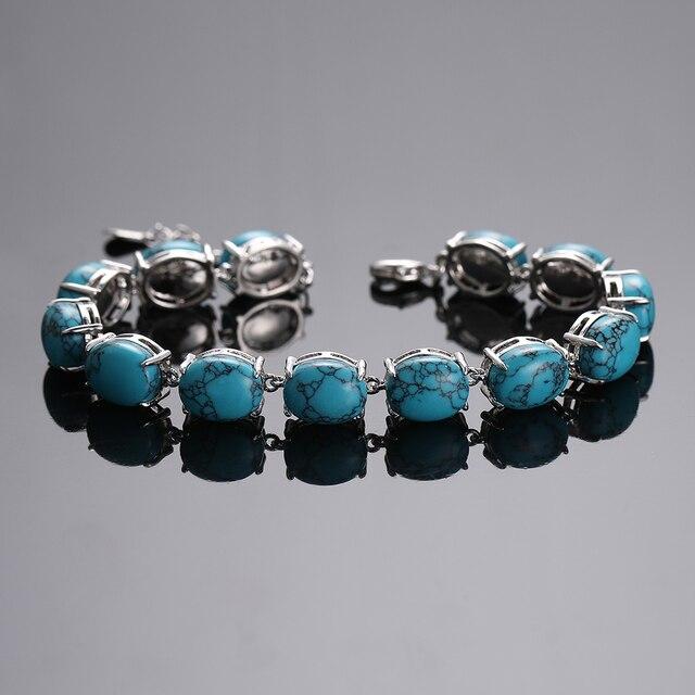 Bracelet Pierres Porte-Bonheur Plat Turquoise