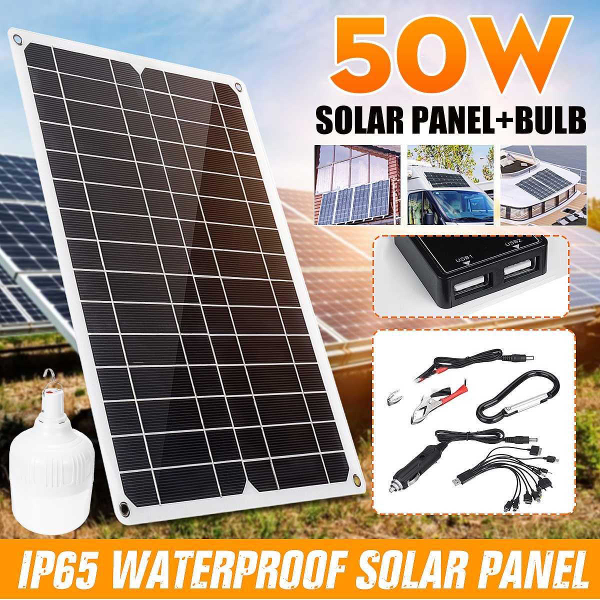 Portable LED Solar Power Outdoor Light 50W Flexible Mono Solar Panel Dual USB Battery Charger 9/15/24/36W Bulb Solar Energy Lamp