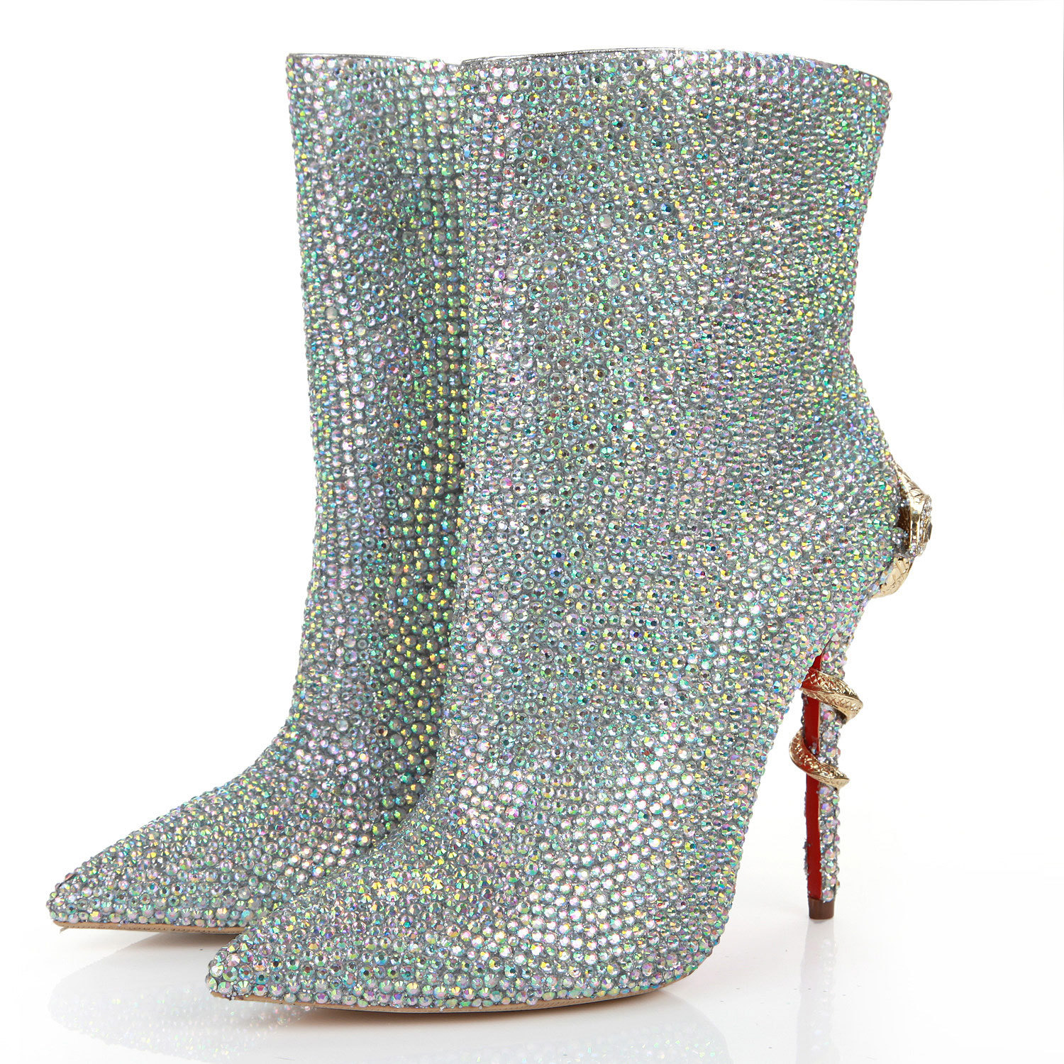 Women's Short Boots Toe Crystal Short Boots Rhinestone Ladies Pumps Bridal Wedding Cocktail Shoes Snake Shaped Metal Decoration-BeeInFly