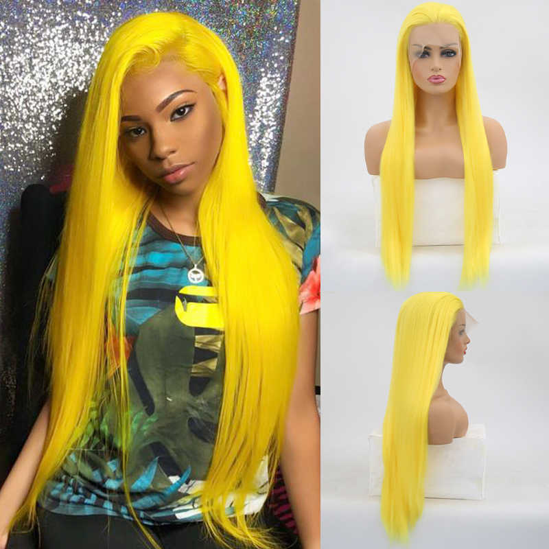 Peluca amarilla carisma, peluca larga de pelo lacio, fibra sintética resistente al calor, peluca con malla frontal para mujeres, pelucas de Cosplay de línea de pelo Natural