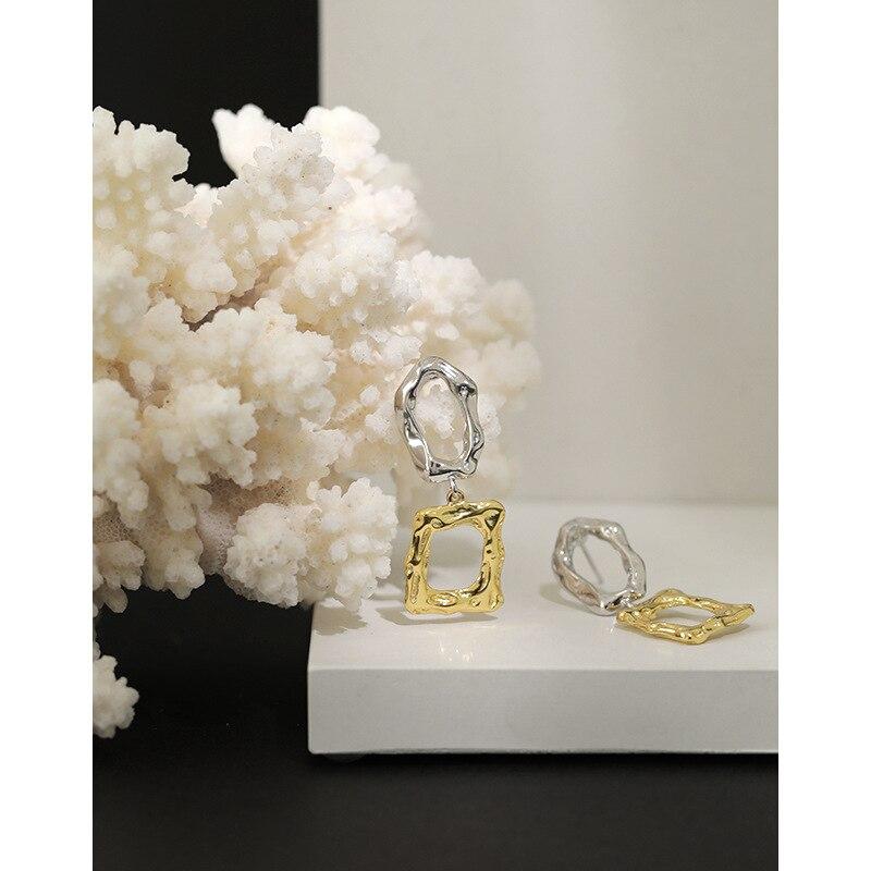 Kinel 2020 New Earrings Korean S925 Sterling Silver Earrings Geometric Gold Silver Earrings INS Minimalist Silver 925 Jewelry