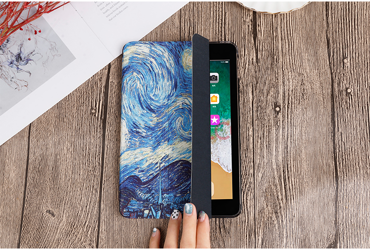Gen Cover Flip iPad iPad Stand For Painted PU 10.2 Case leather QIJUN 8th For inch 2020