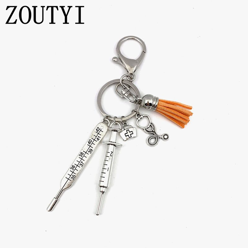 ZOUTYI 2019 new nurse medical box medical key chain needle syringe stethoscope tassel cute key ring jewelry gift wholesale in Key Chains from Jewelry Accessories