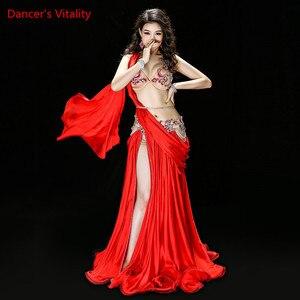 Image 5 - חדש באיכות גבוהה בטן ריקוד תלבושות שמלות סקסי חזייה + חצאית + חגורת שלב ביצועי תלבושות חליפות בגדי ירוק אדום 2 צבעים