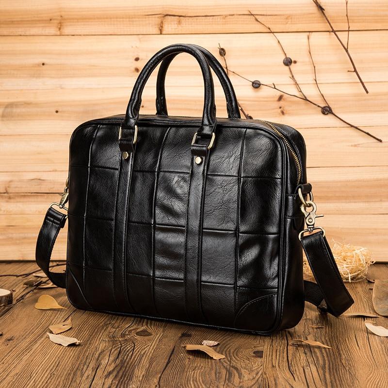 Newhotstacy Bag 100419 Vintage Business Man Leather Handbag Tote Bag Laptop Bag Briefcase