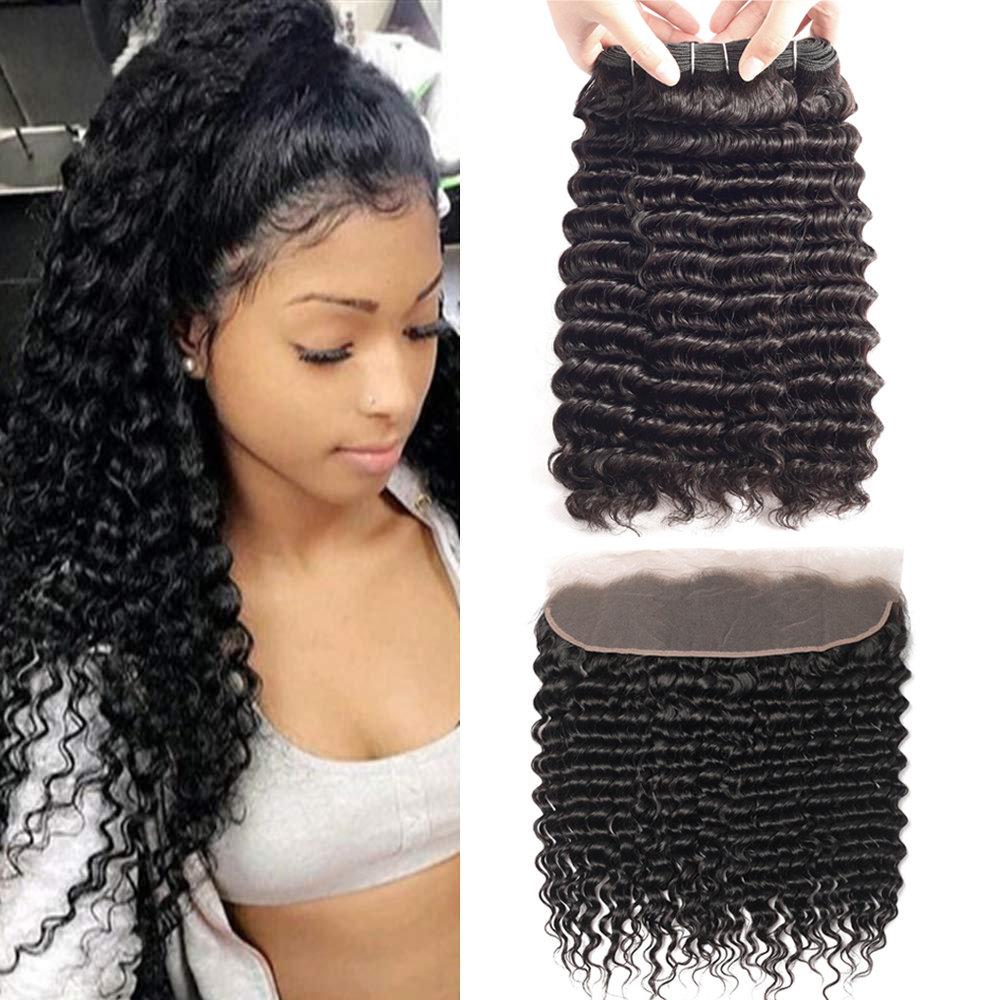 Sapphire Deep Wave Human Hair Bundles With Frontal Closure Curly Bundles With Frontal Brazilian Hair Weave Bundles With Frontal