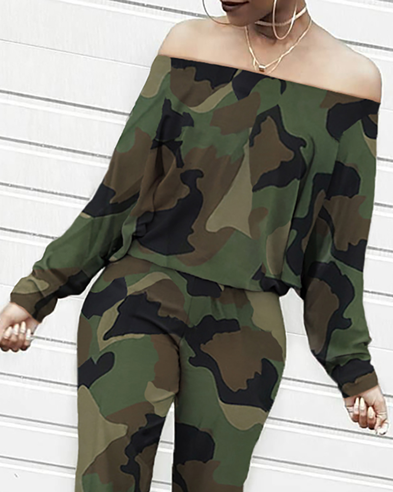 Camouflage Printed Two Piece Sets Female Long Sleeve One Shoulder Blouse Pants Autumn Winter Women's Sets Tops CD3502