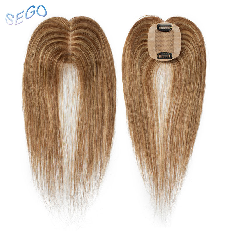 SEGO 6x9cm Human Hair Clip In Toppers For Women Non-Remy Silk Base Top Hairpiece Medium Brown&Dark Blonde Straight  Indian Hair