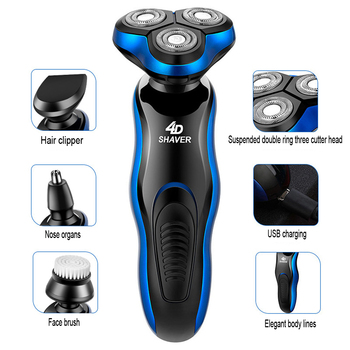Electric Shaver 3 in 1 Razor Rechargeable Electric Beard Trimmer Shaving Machine For Men Beard Razor Wet-Dry Dual  Use  Washable 4 in 1 electric shaver for men wet