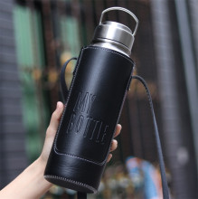 800ML/1000ML high quality New All stainless steel Portable thermos bottles with leather bag Travel Tea infuser thermal bottle