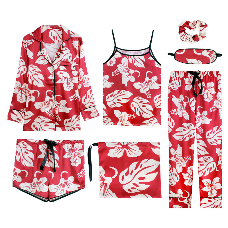 JULY'S SONG Women 7 Pieces Pajamas Set Faux Silk Spring Autumn Printing New Leisure Sling Shorts Women Sleepwear Female HomeWear