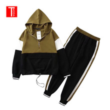 2019 Set Female Black Contrast Color Baseball Bomber Pullover Jacket Women Tops and Pencil Jogging Pants Suits Two Piece Sets