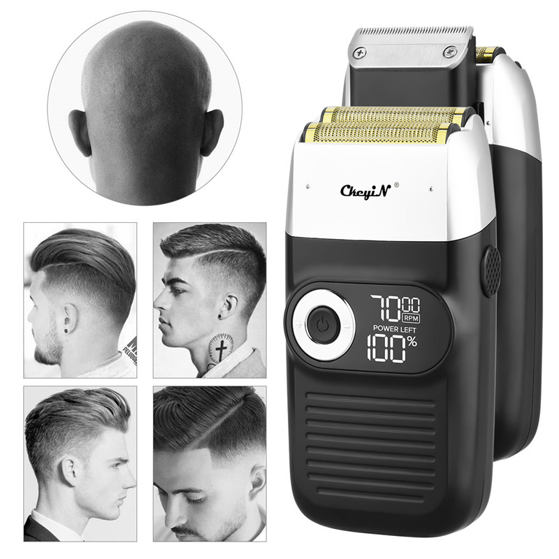2 In 1 elektrikli tıraş makinesi kel kafalı sakal düzeltici pistonlu e n e n e n e n e n e n e n e n e n e bıçak tıraş Lcd ekran jilet 3 hız ayarlanabilir sakal erkekler