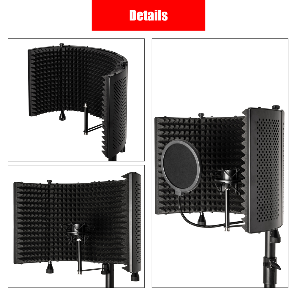 Microphone Sound-Absorbing Hood Desktop Using The Floor With Holder Using The Complimentary Pop Filter Complimentary Microphone