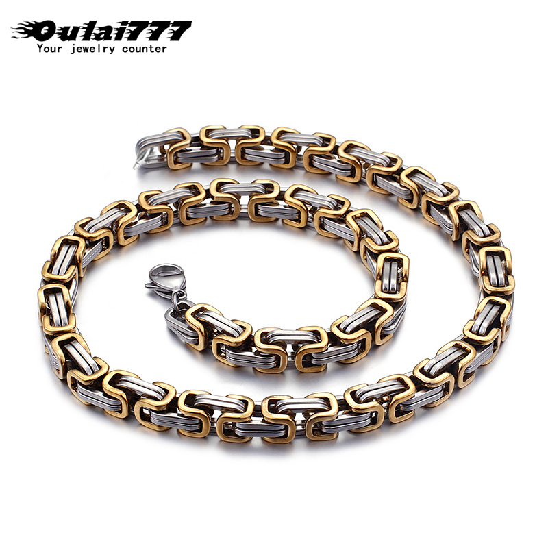 Oulai777 wholesale stainless steel mens necklace men accessories big punk fashion jewelry male gold link chain long necklaces in Chain Necklaces from Jewelry Accessories