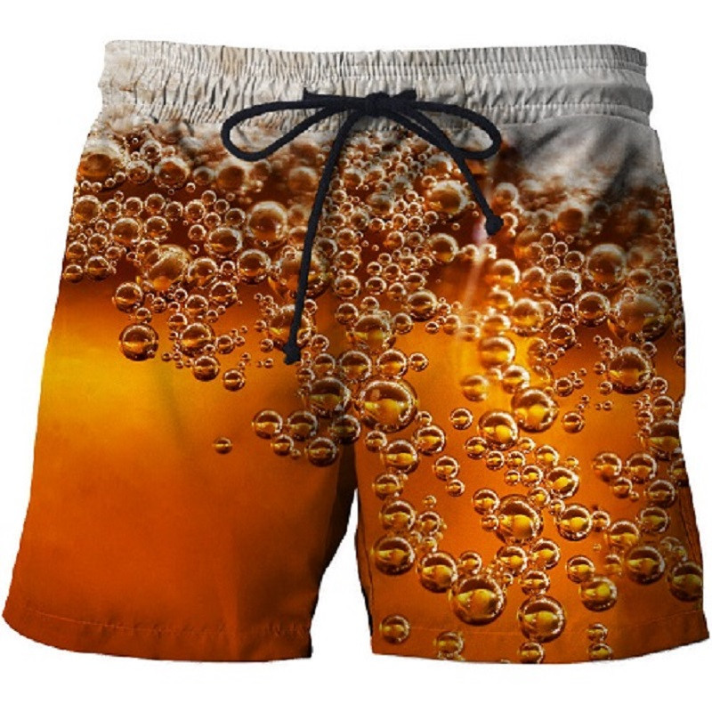 New Fashion 3D Beer Print Surf Shorts Male Funny Cans Beach Shorts Summer Sexy Shorts Men Women Sports Shorts 3d Swimming Shorts