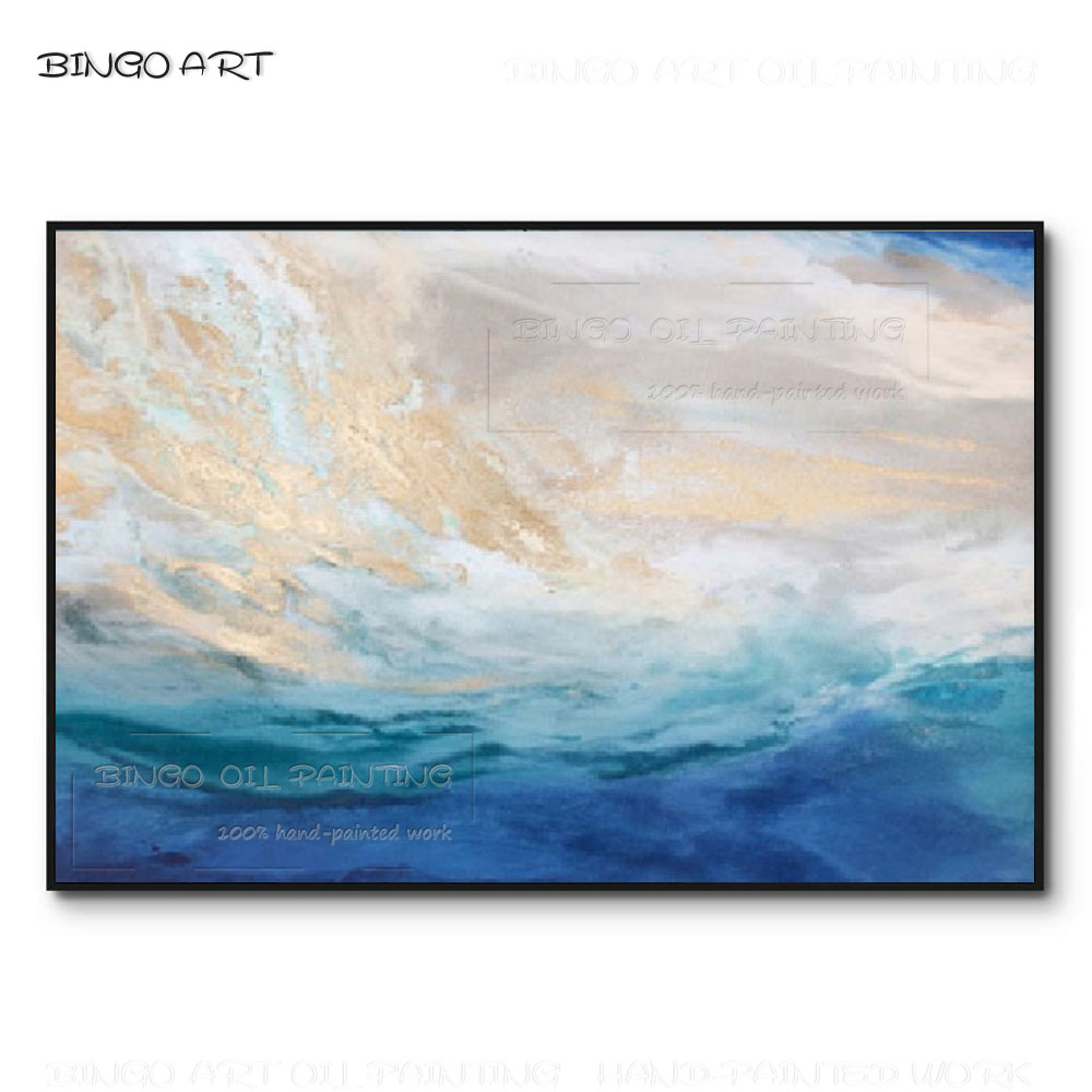 Artist Hand-painted High Quality Abstract Blue Oil Painting Fresh Colors Light for Living Room Decor