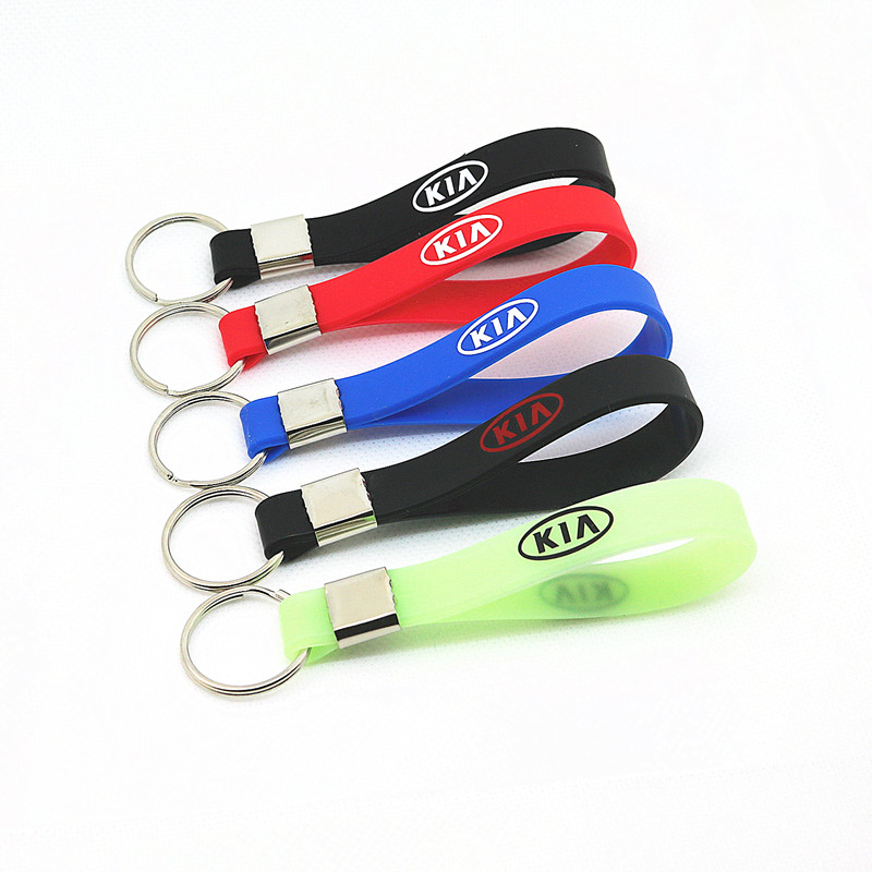 Luminous Silica Gel Car Keyring Car Sticker Key Chain Styling For Kia Ceed Cerato Rio Rio 3 Rio 4 Picanto K5 K9 Car Accessories
