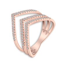 Fashion Ring Rose Gold Color Trendy Three V Shape Ring Inlay Zircon for Women(China)