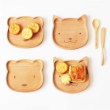 Cute Bear Face Wood Dinner Plate Kids Cartoon Pattern Food Fruit Dish Tray Child Baby Serving Plates Dinnerware 15.5*14cm
