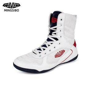 Мужская спортивная обувь, качественные мужские кроссовки со шнуровкой и высоким берцем, Мужская профессиональная обувь для бокса, износост...
