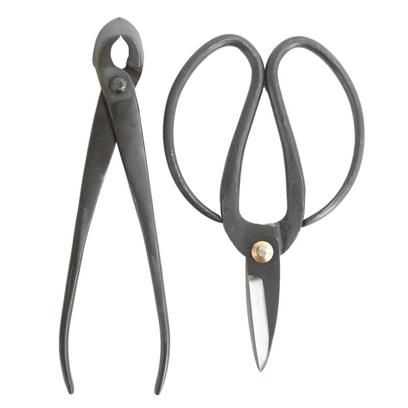 2 Pcs Bonsai Basics Set - 8 inch Concave Cutter, 7 inch Heavy Duty Shear with Bag