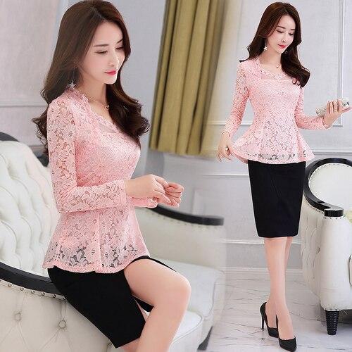Plus Size M-4XL Lace Women clothing Pink Blusas 2021 New Lace Shirt Tops Female Elegant Long-sleeve Lace Women Blouse shirt 117F 9