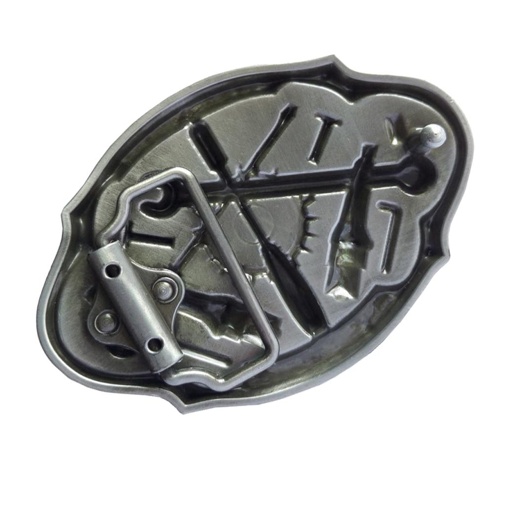 1PC Retro Western Men's Leather Belt Buckle Metal Oval Mechanic Tool Pattern