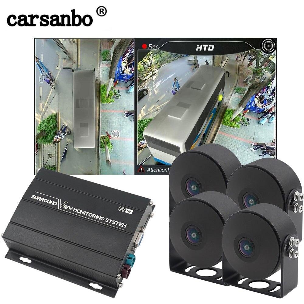 Système de caméra de vue Surround Carsanbo HD 360 degrés pour Bus, camion, enregistrement vue 3D système de Panorama de vue d'oiseau DVR 360 degrés