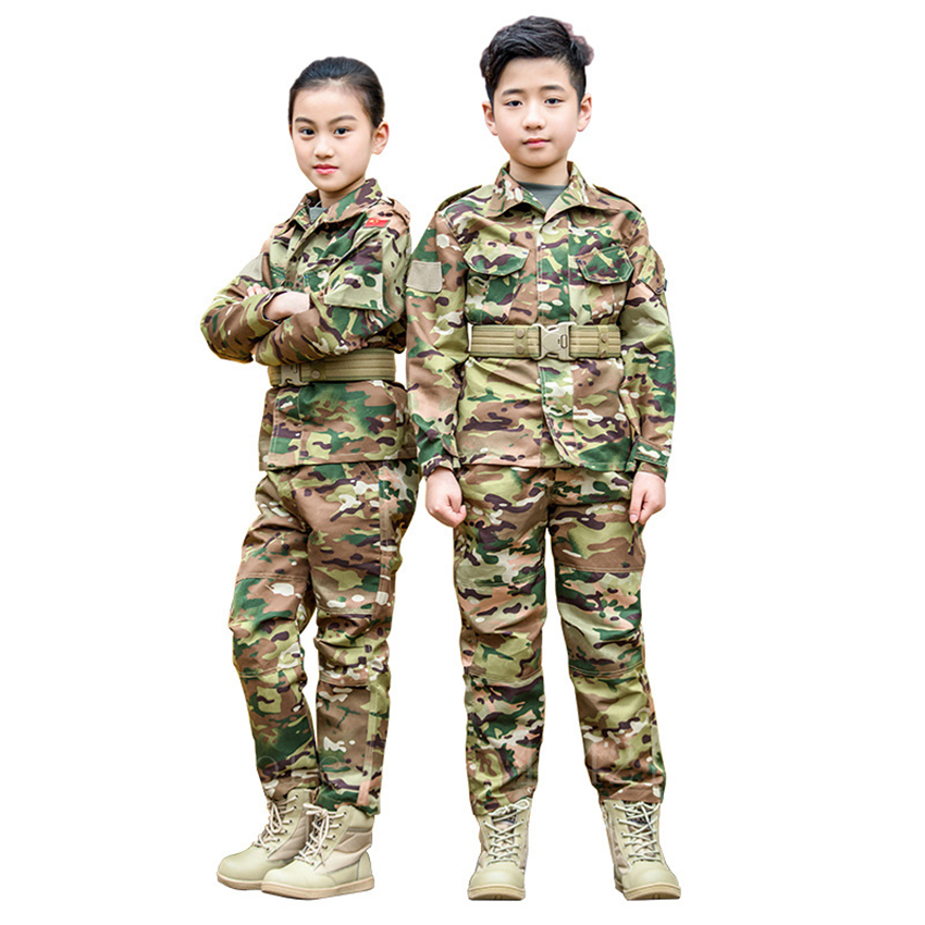 Kids Military Uniform Outdoor Tactical Combat Training Army Suit Boys CP Camouflage Desert Jacket Pants Special Force Costume