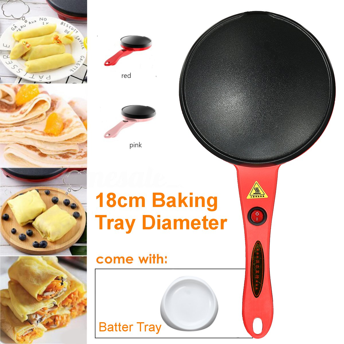 Electric Crepe Maker 220V 600W Non Stick Pancake Baking Pan Frying Griddle Pizza Machine Red Pink Kitchen Cooking Tools 18cm