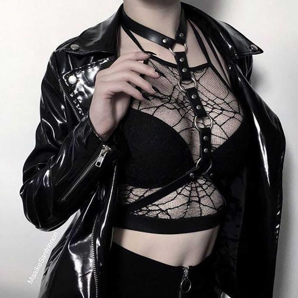 WKY kadın Erotico boyun bel Pu deri demeti kemer siyah seksi BDSM esaret vücut demeti seksi iç çamaşırı askı Goth iç çamaşırı
