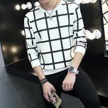 Fall Fashion Leisure New Mens Chequered T-shirt Sleeve