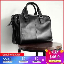 Мужской портфель из натуральной воловьей кожи, вместительный черный портфель на плечо для ноутбука, 2020