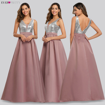 Ever Pretty V-Neck Sequined Bodice Backless A Line Long Evening Dresses Elegant Vestido De Festa Fast Shipping Satin Prom Gowns 4