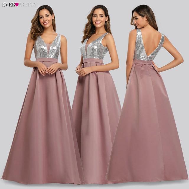 Ever Pretty V-Neck Sequined Bodice Backless A Line Long Evening Dresses Elegant Vestido De Festa Fast Shipping Satin Prom Gowns 4